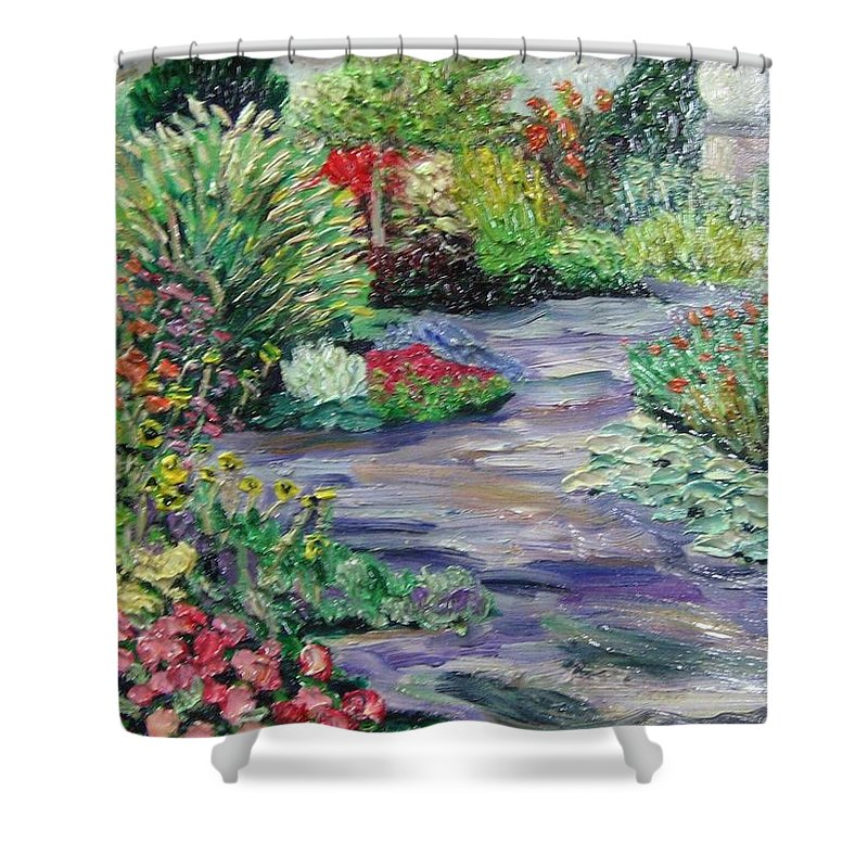 Park Shower Curtain featuring the painting Amelia Park Blossoms by Richard Nowak