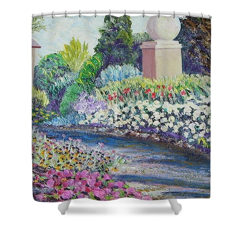Flowers Shower Curtain featuring the painting Amelia Park Pathway by Richard Nowak
