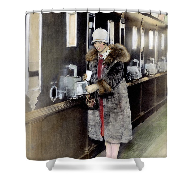 1925 Shower Curtain featuring the photograph America: Automat, C1925 by Granger