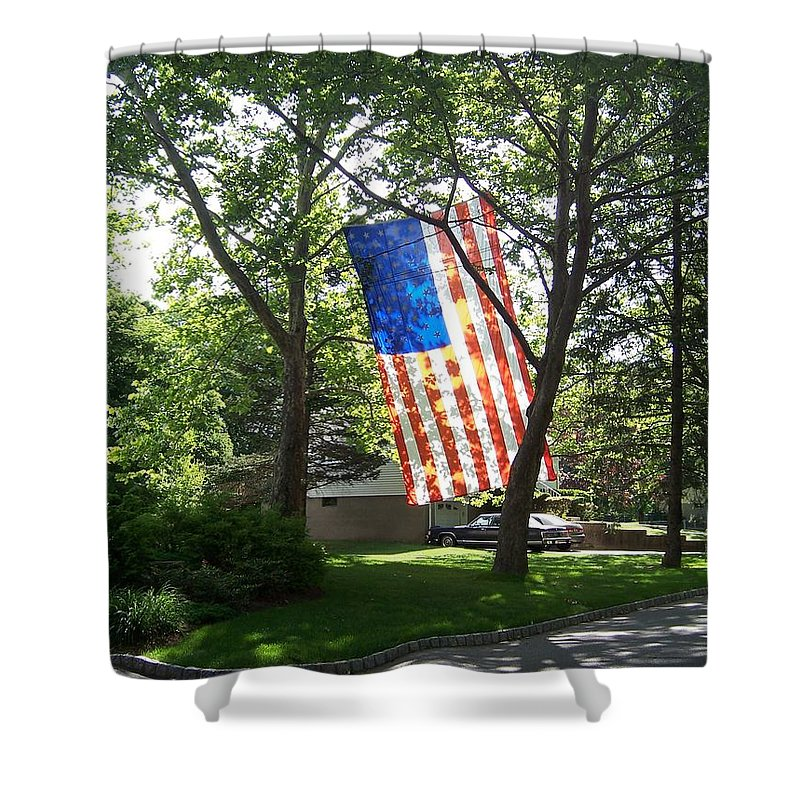 American Flag Shower Curtain featuring the photograph America The Beautiful by Laurie Paci