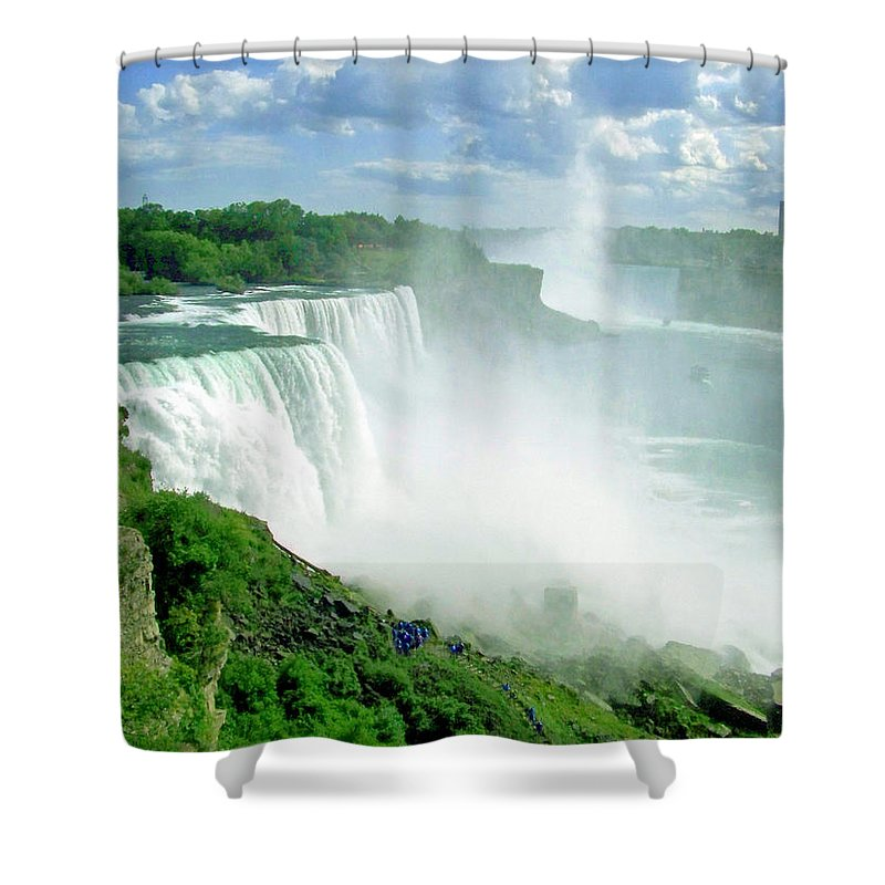 Waterfall Shower Curtain featuring the photograph American And Niagra Falls At Niagra by Laurie Paci