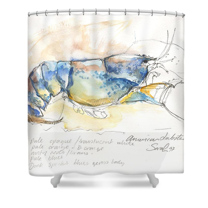 Lobster Shower Curtain featuring the painting American Blue Lobster by Sarah Madsen