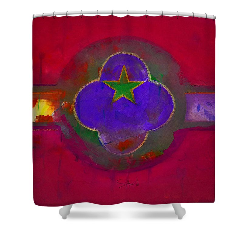 Star Shower Curtain featuring the painting American Cats And Flowers by Charles Stuart
