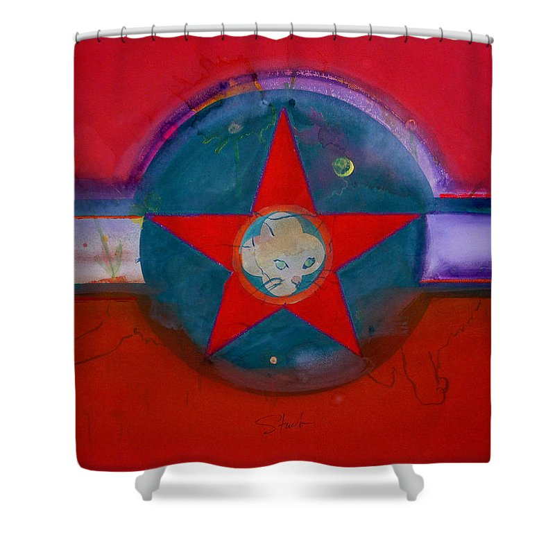 Star Shower Curtain featuring the painting American Chinoiserie Cat by Charles Stuart