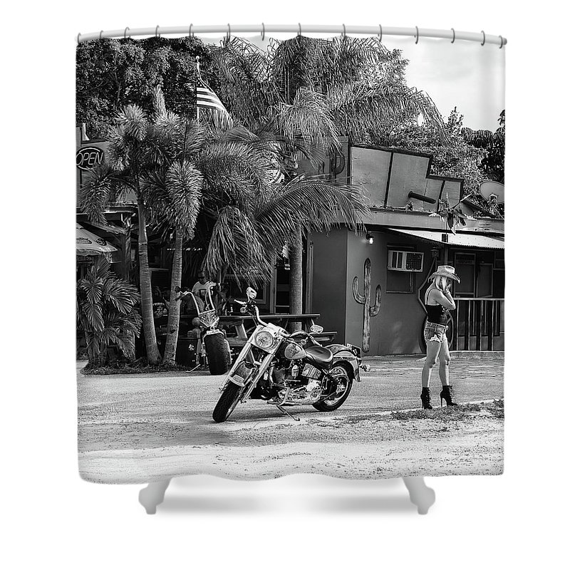 Harley Davidson American Classic Motorcycle Roadhouse Motorcycles Hog Harleys Choppers Fat Boys Custom Chrome Roadside Vintage Retro Biker Chic Babe Cowgirl Hat Leather High Heels Boots Open Sign American Flag Americana Pride Hipster Made In America Usa Tropical Palm Trees Picnic Table Restaurant Food Shack Hobe Sound Dirt Road Country South Florida Southern Gift For Bar Nightclub Bar Bike Lover Cactus Black And White Monochrome Laurarama Laura Fasulo Street Photography Lifestyle Life Biker Life Shower Curtain featuring the photograph American Classic by Laura Fasulo