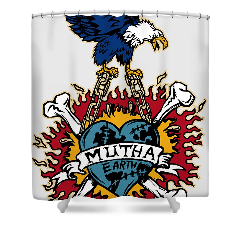 American Classic Shower Curtain Featuring The Photograph Tattoo Style Mutha Earth By Gregory Dyer