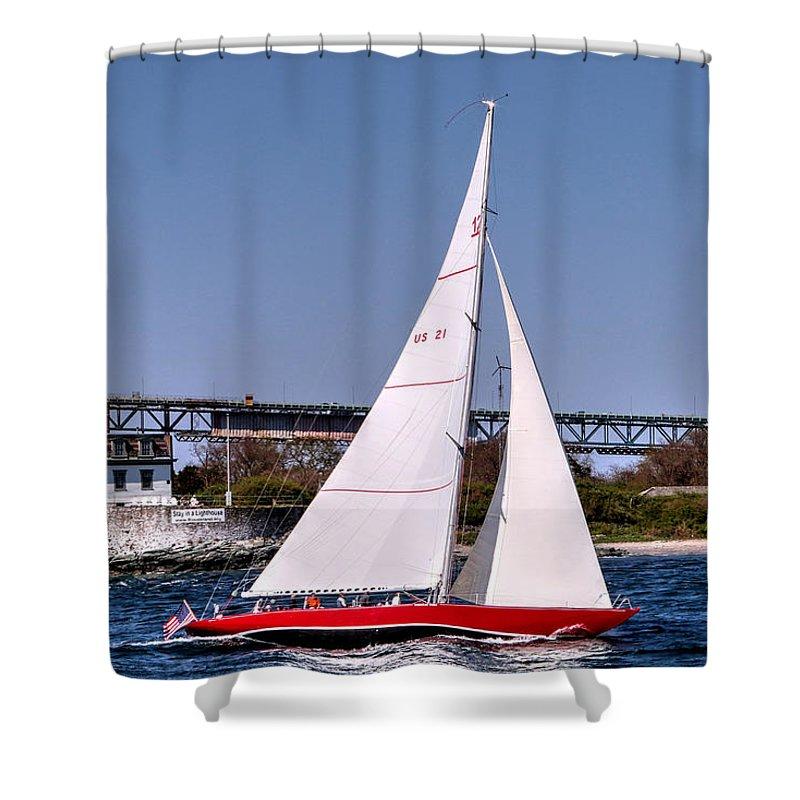 Rhode Island Shower Curtain featuring the photograph American Eagle Newport Ri by Tom Prendergast