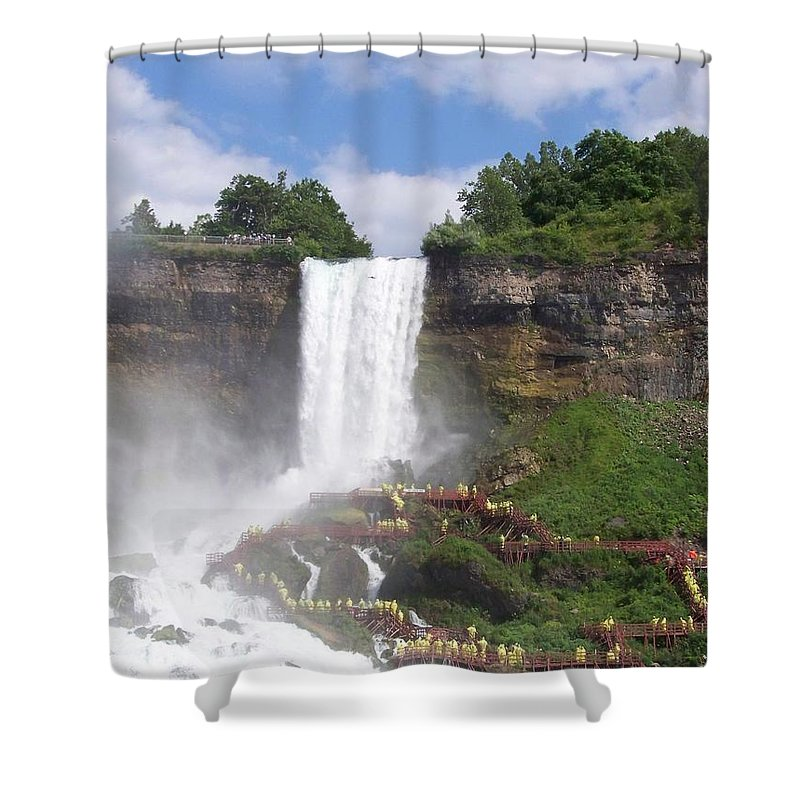Niagra Falls Shower Curtain featuring the photograph American Falls At Niagra by Laurie Paci