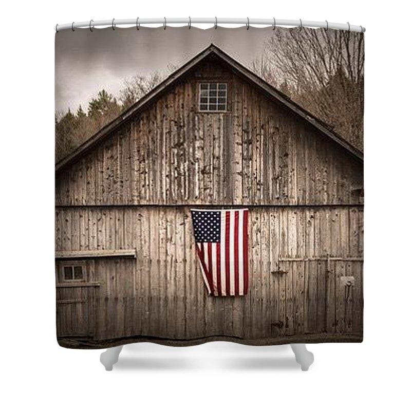 Arkansas Shower Curtain Featuring The Photograph American Flag Barn By Matt Grace