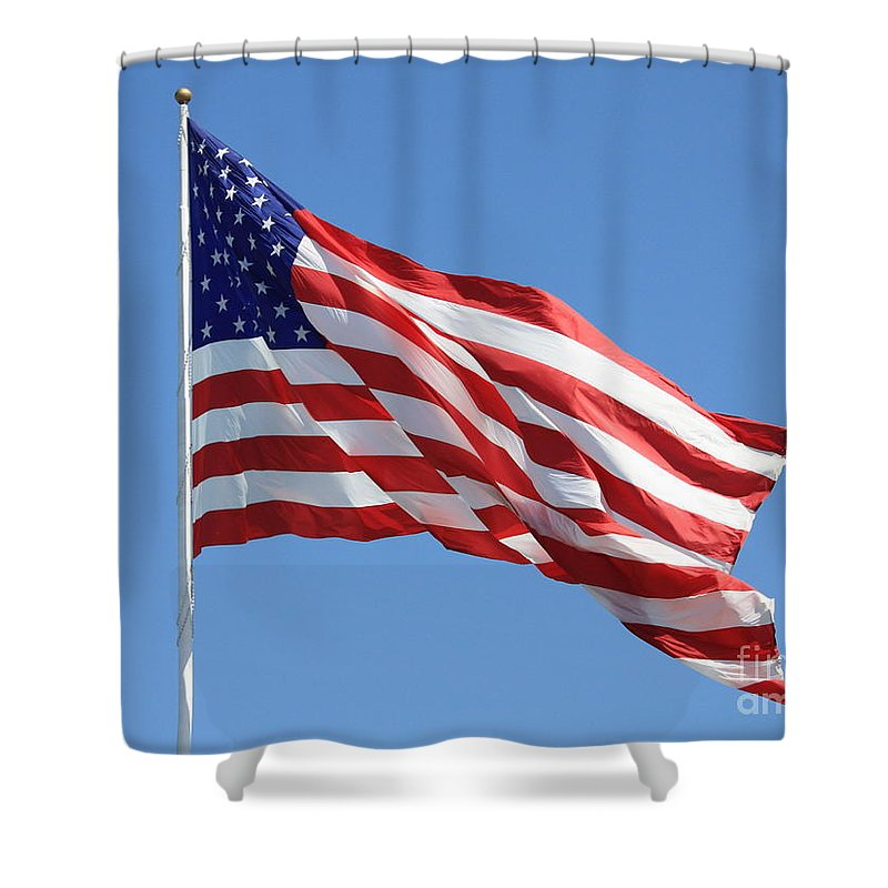 Flag Shower Curtain featuring the photograph American Flag by Carol Groenen