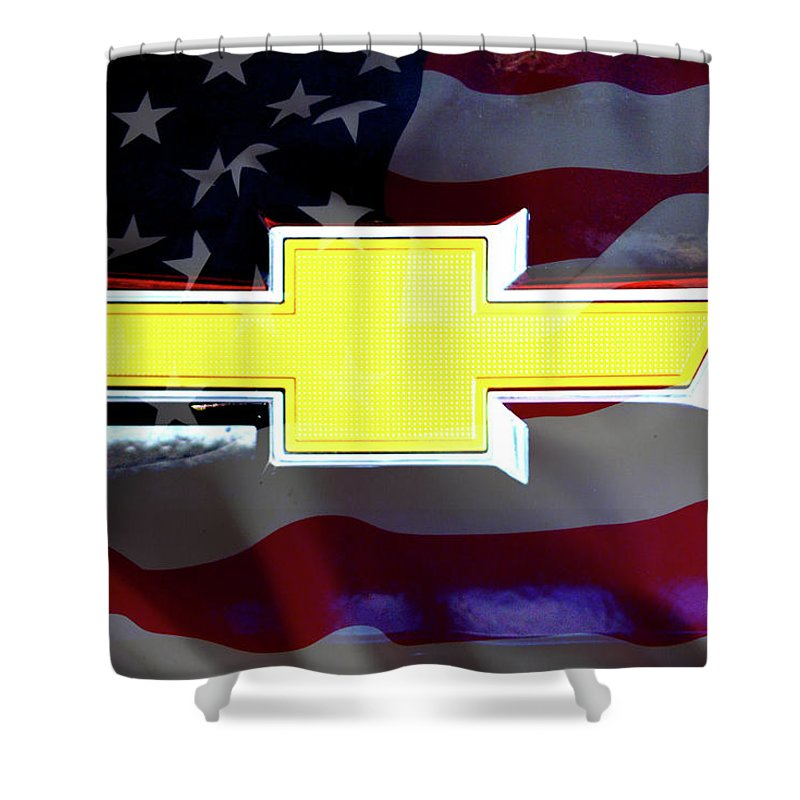 Chevrolet Shower Curtain Featuring The Digital Art American Flag Chevy Bowtie By Katy Hawk