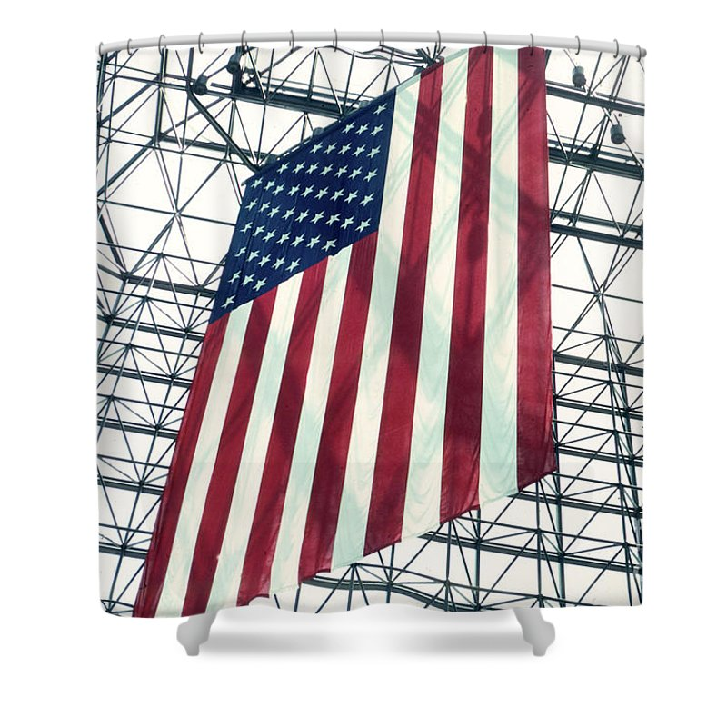 Flag Shower Curtain featuring the photograph American Flag In Kennedy Library Atrium - 1982 by Thomas Marchessault