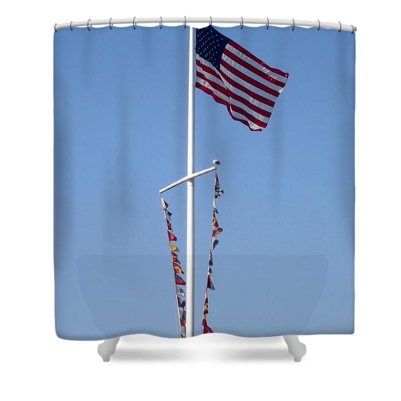American Flag Shower Curtain featuring the photograph American Flag by Shelley Jones