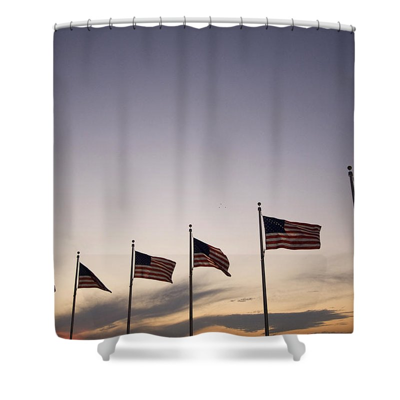 Photography Shower Curtain featuring the photograph American Flags On The Mall by Joel Sartore