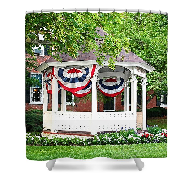 Gazebo Shower Curtain featuring the photograph American Gazebo by Margie Wildblood