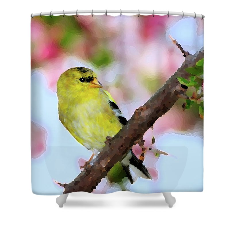 American Goldfinch Shower Curtain featuring the digital art American Goldfinch by Betty LaRue