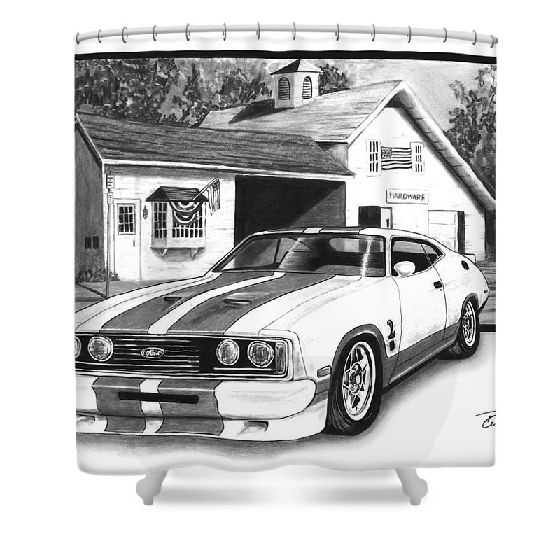 American Heartland 1978 Ford Cobra Shower Curtain featuring the drawing American Heartland by Peter Piatt