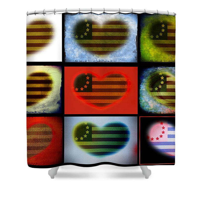 Flag Shower Curtain featuring the photograph American Hearts by Bill Cannon