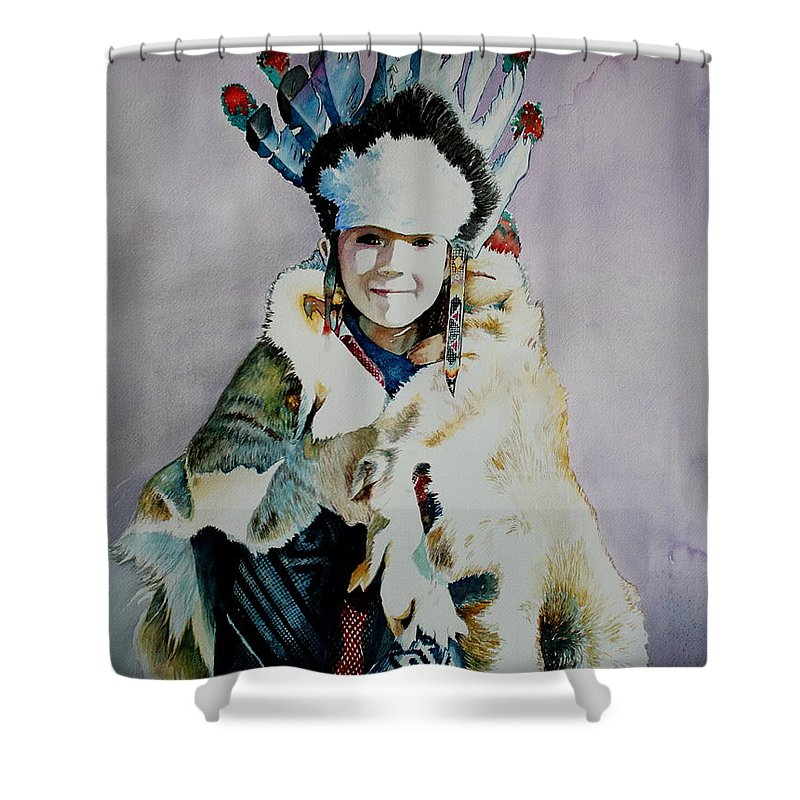 American Shower Curtain featuring the painting American Indian Girl by Jelly Starnes