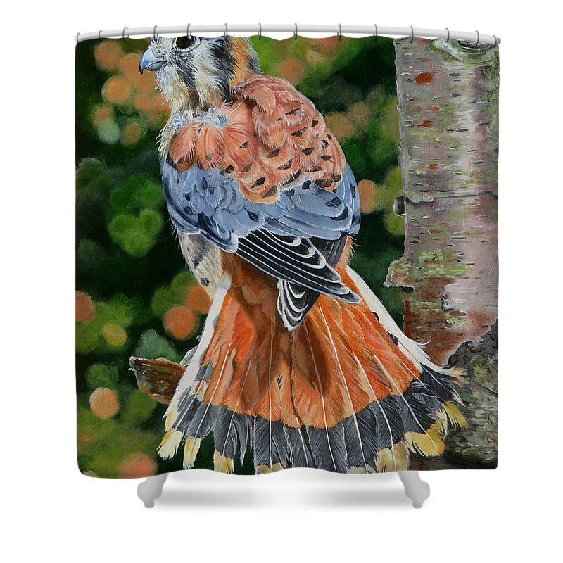 Bird Shower Curtain featuring the painting American Kestrel In My Garden by Phyllis Beiser