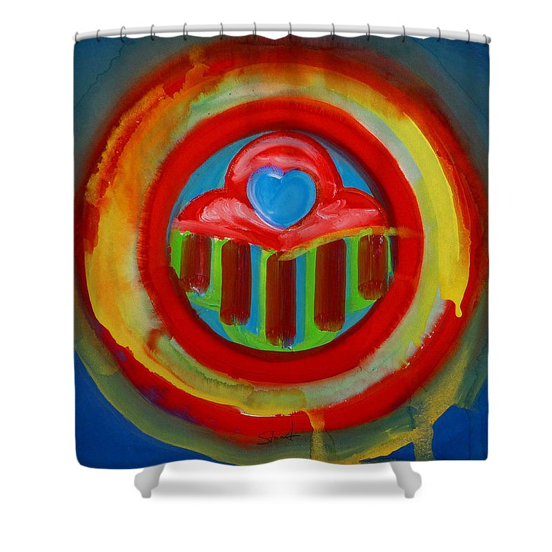 Button Shower Curtain featuring the painting American Love Button by Charles Stuart