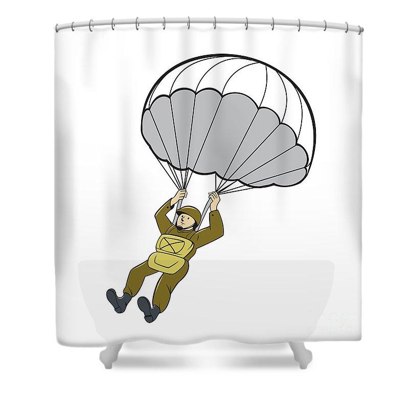 Paratrooper Shower Curtain Featuring The Digital Art American Parachute Cartoon By Aloysius Patrimonio