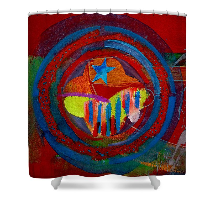 Button Shower Curtain featuring the painting American Pastoral by Charles Stuart