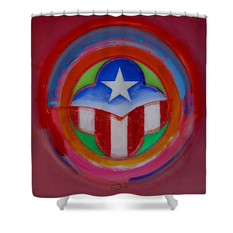Button Shower Curtain featuring the painting American Star Button by Charles Stuart