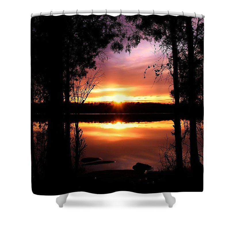 Landscape Shower Curtain featuring the photograph American Sunset by Mitch Cat