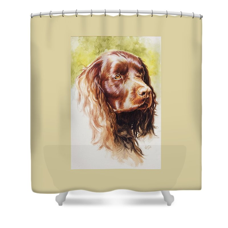 Sporting Shower Curtain featuring the painting American Water Spaniel by Barbara Keith