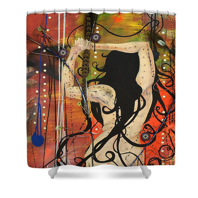 Woman Shower Curtain featuring the painting American Witch by Sheridan Furrer