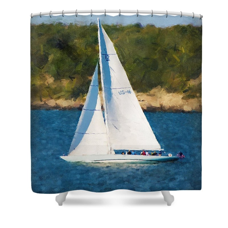 Sail Shower Curtain featuring the photograph America's Cup 12 Meter Sailboat Newport Ri by Gary Nelson