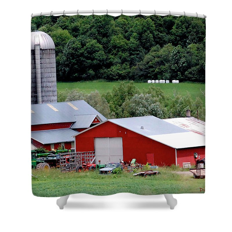 Barns Shower Curtain featuring the digital art Americas Heartland by DigiArt Diaries by Vicky B Fuller