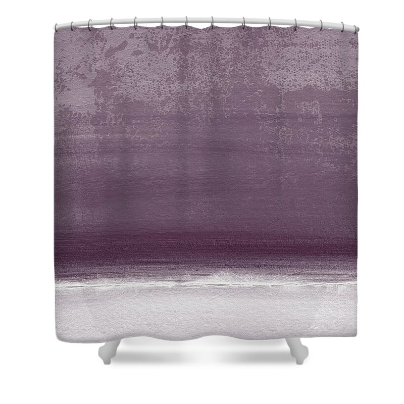 Beach Shower Curtain featuring the painting Amethyst Shoreline- Abstract art by Linda Woods by Linda Woods