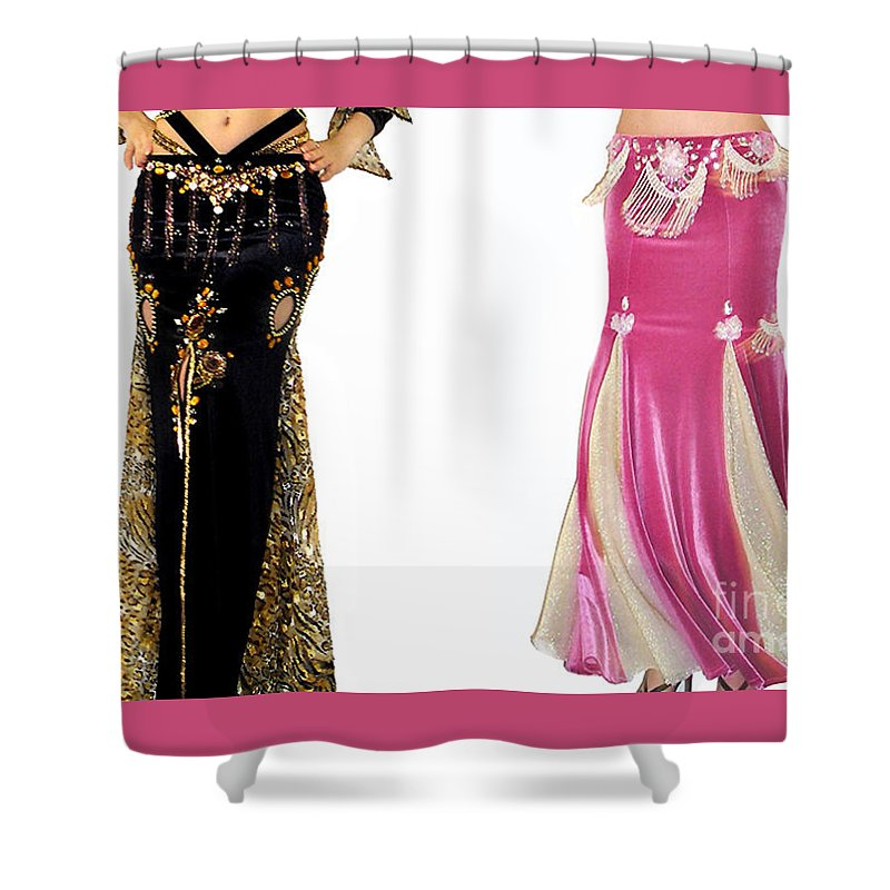 Ameynra Shower Curtain Featuring The Photograph Belly Dance Fashion Skirt Samples Black Pink