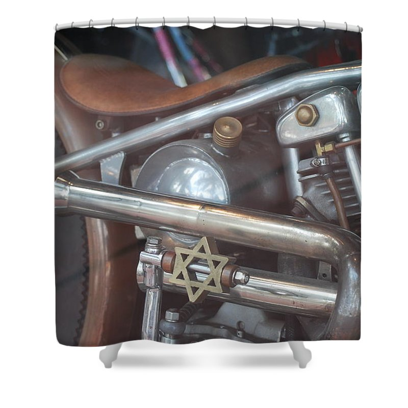 Motorcycle Shower Curtain featuring the photograph Ami's Bike by Rob Hans
