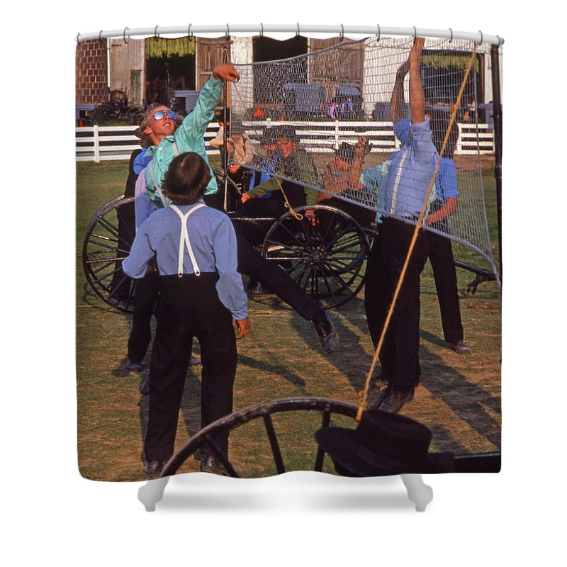 Amish Shower Curtain featuring the photograph Amish Boys Play Volleyball Farm by Blair Seitz