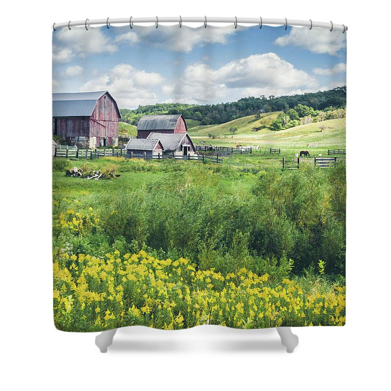 Amish Shower Curtain featuring the photograph Amish Country Farm Warrens by Dawn Braun