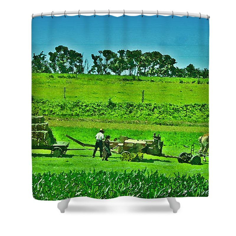 Lancaster County Shower Curtain featuring the photograph Amish Gathering Hay by Bill Cannon