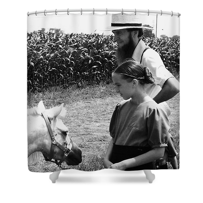 Amish Shower Curtain featuring the photograph Amish Girl And Pony by Eric Schiabor