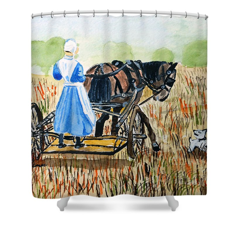 Kentucky Shower Curtain featuring the painting Amish Girl With Buggy by Arlene Wright-Correll
