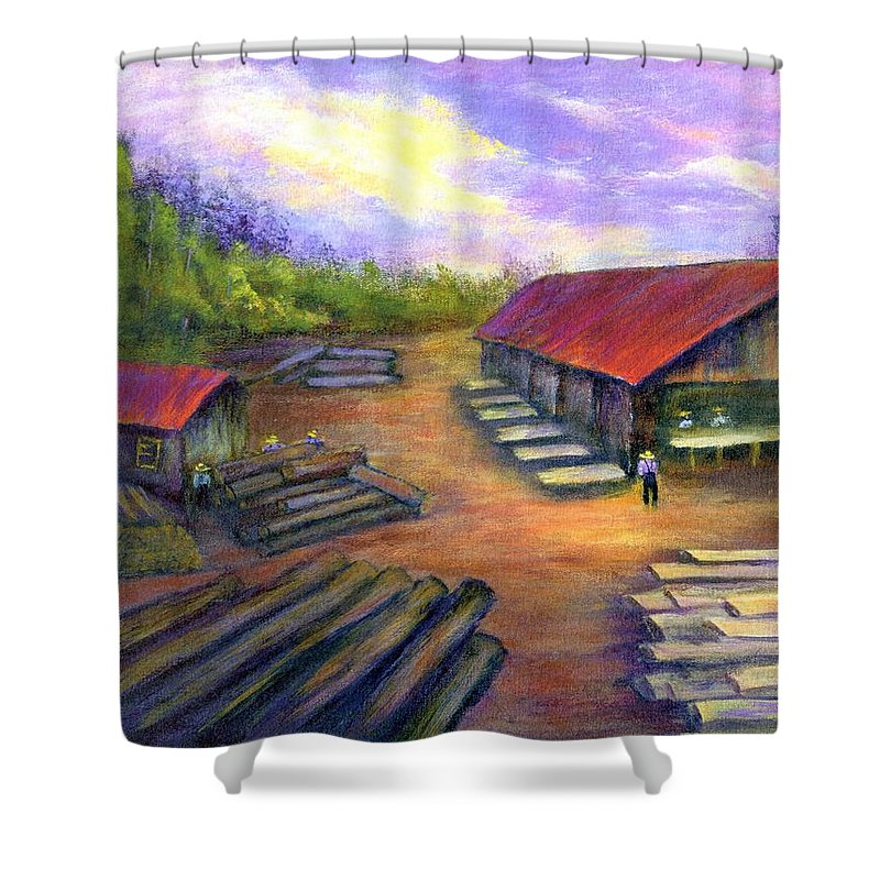 Amish Shower Curtain featuring the painting Amish Lumbermill by Gail Kirtz