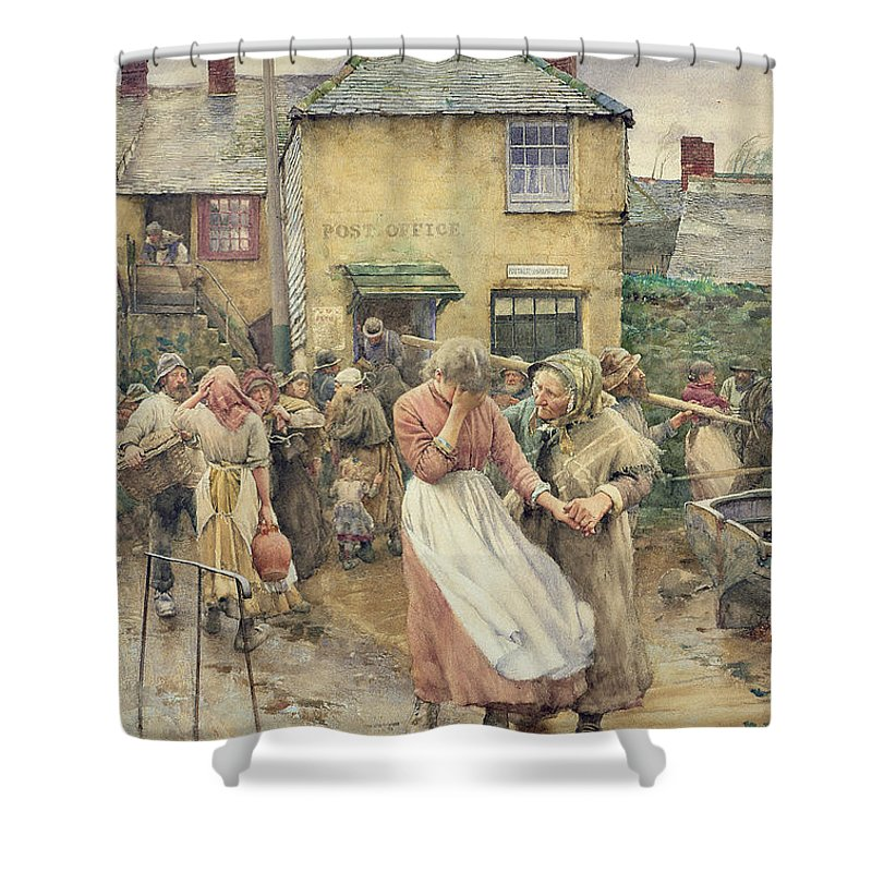 Among The Missing Shower Curtain featuring the painting Among The Missing by Walter Langley