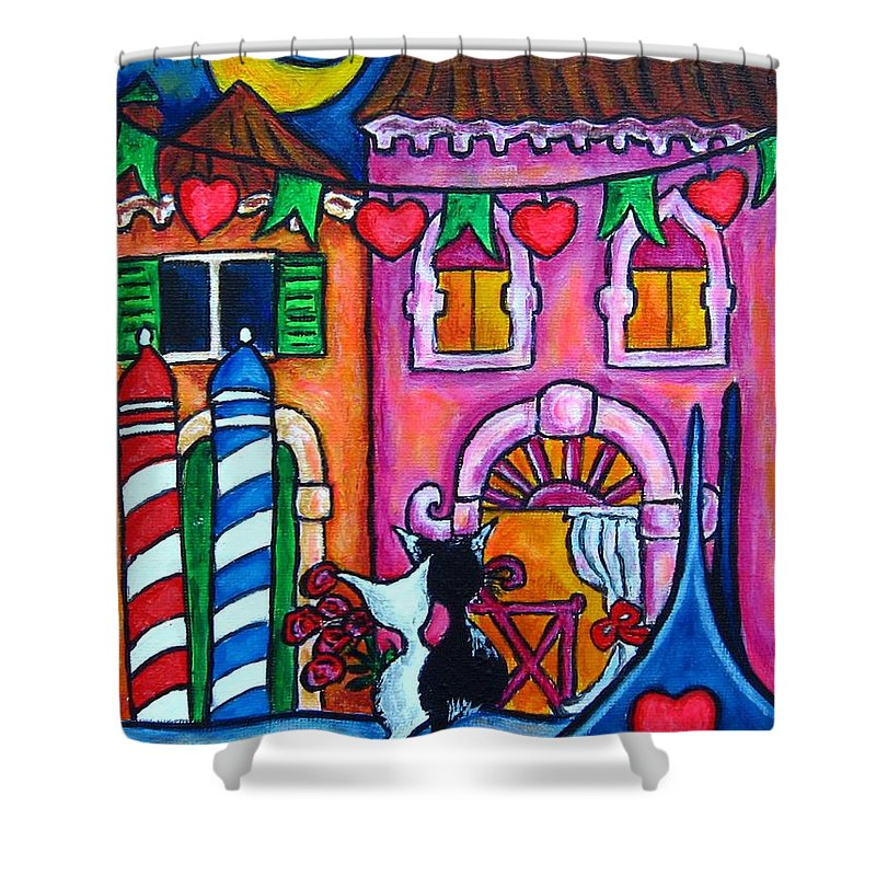 Cats Shower Curtain featuring the painting Amore In Venice by Lisa Lorenz