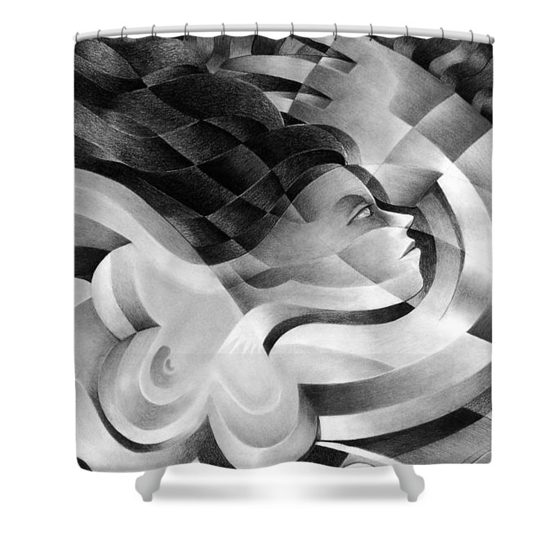 Art Shower Curtain featuring the drawing Amore by Myron Belfast