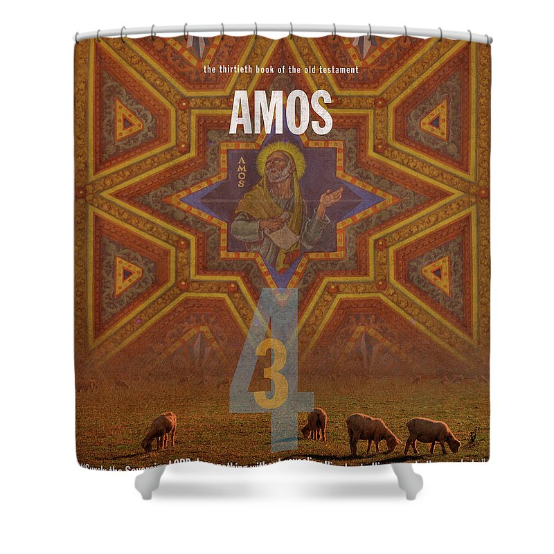 Amos Shower Curtain featuring the mixed media Amos Books Of The Bible Series Old Testament Minimal Poster Art Number 30 by Design Turnpike