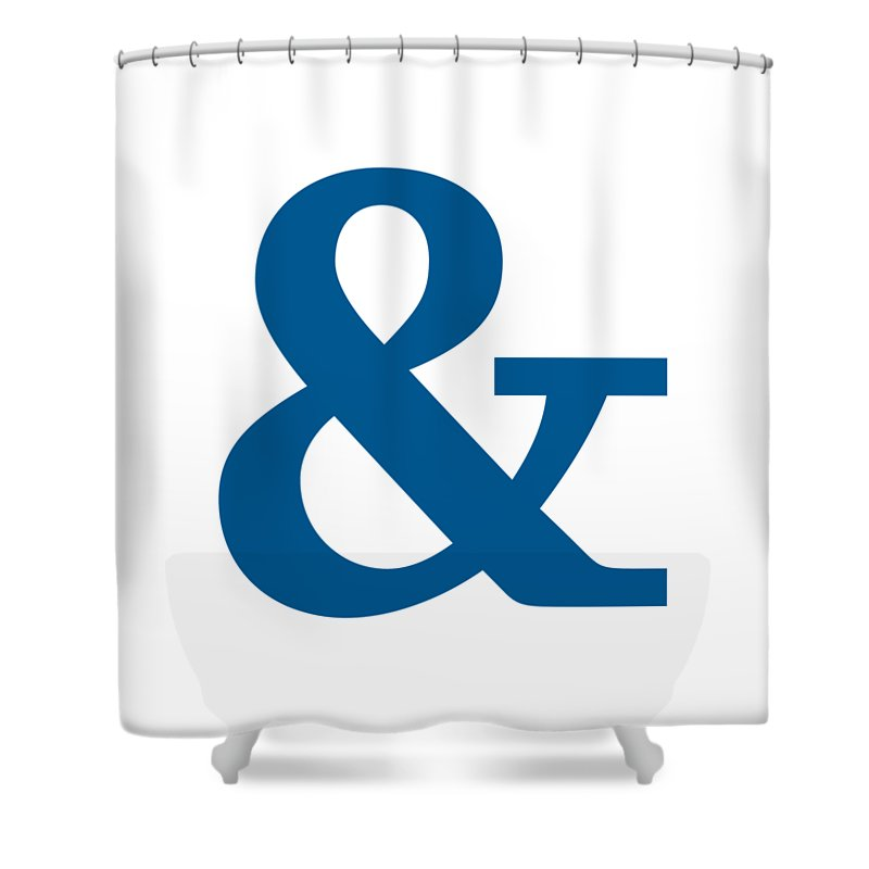 Shower Curtain Featuring The Digital Art Ampersand In Sega Blue Typewriter Style By Custom Home