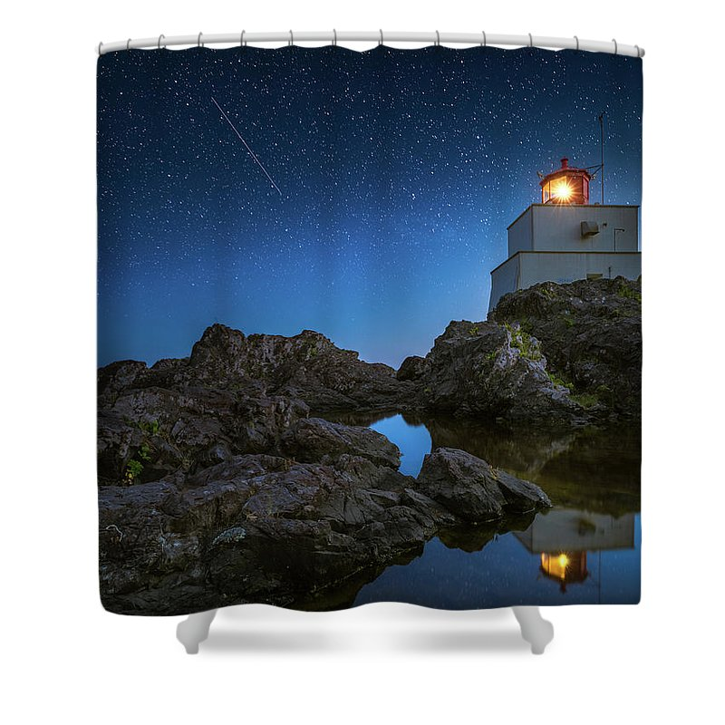 America Shower Curtain featuring the photograph Amphitrite Point Lighthouse by William Freebilly photography