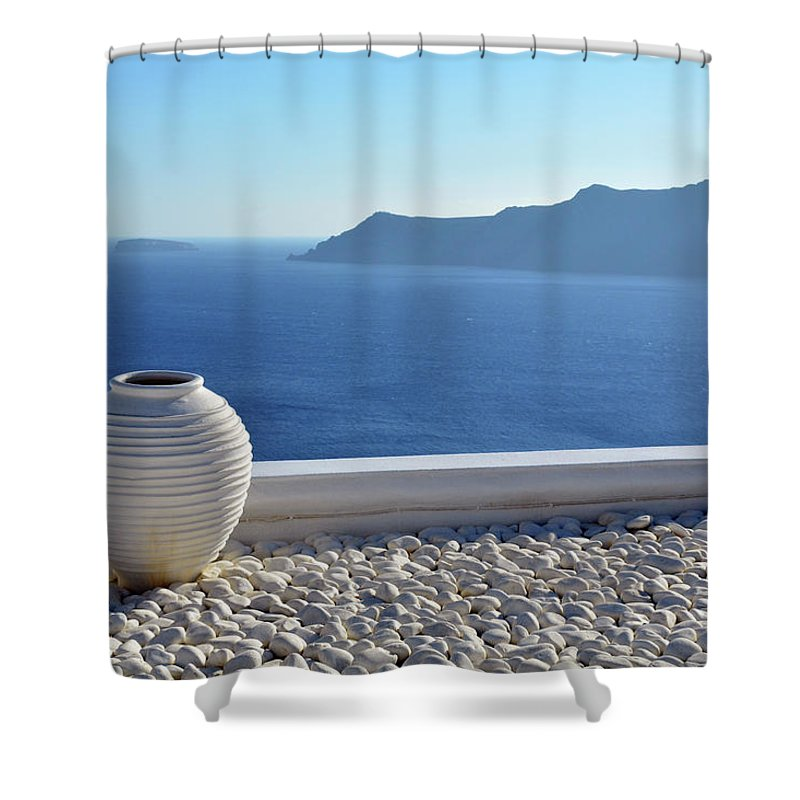 White Shower Curtain featuring the photograph Amphora In Santorini, Greece by Oana Unciuleanu
