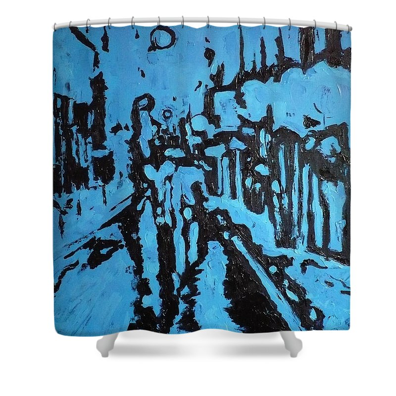 Street Shower Curtain featuring the painting Amsterdam At Night by Ericka Herazo